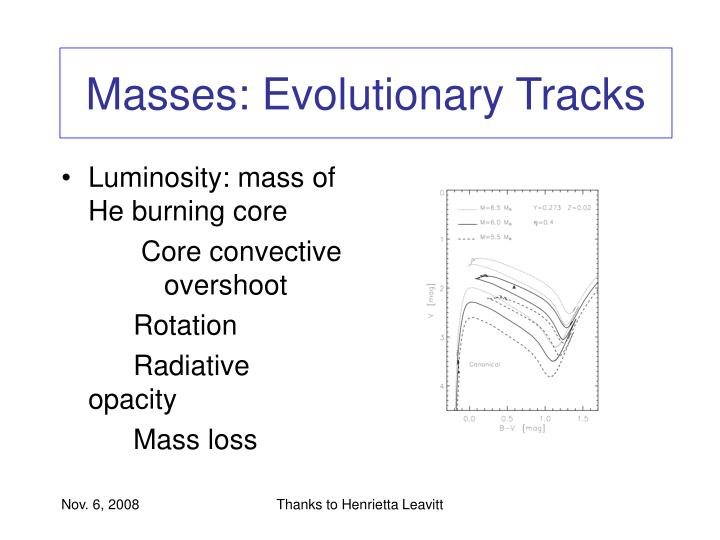 Masses: Evolutionary Tracks