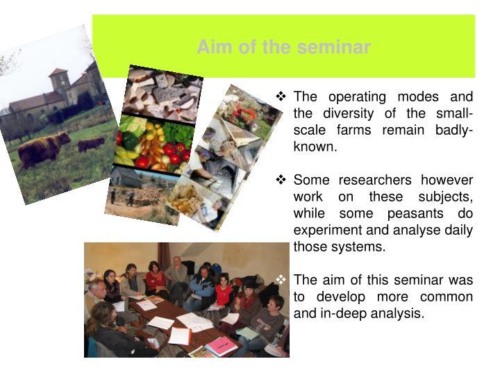Aim of the seminar