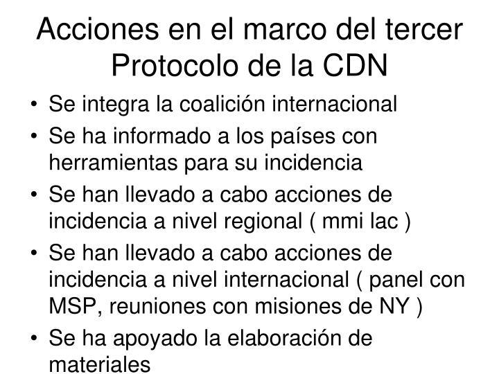 Acciones en el marco del tercer Protocolo de la CDN