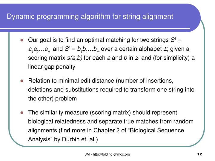 Dynamic programming algorithm for string alignment