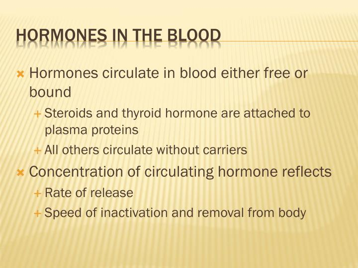 Hormones circulate in blood either free or bound