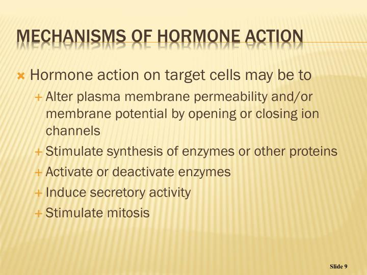 Hormone action on target cells may be to