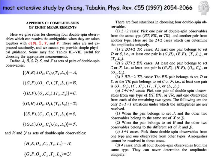 most extensive study by Chiang, Tabakin, Phys. Rev. C55 (1997) 2054-2066