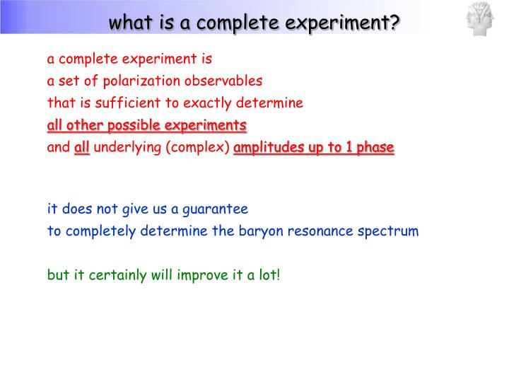 what is a complete experiment?