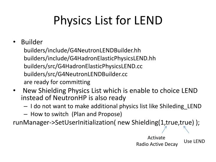 Physics List for LEND