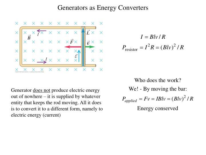 Generators as Energy Converters