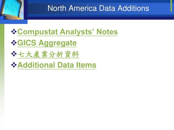 North America Data Additions