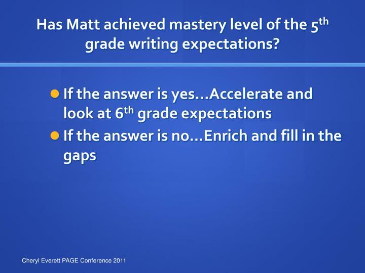 Has Matt achieved mastery level of the 5