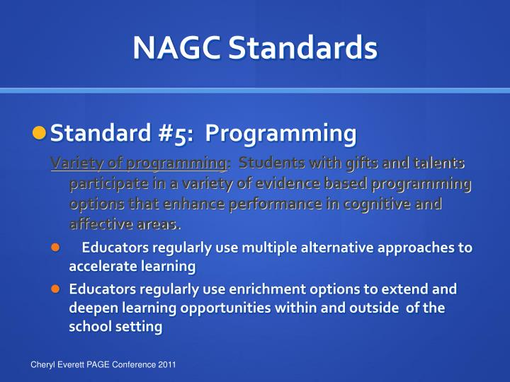 NAGC Standards