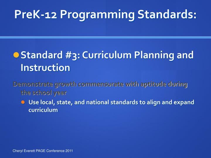 PreK-12 Programming Standards:
