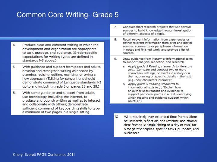 Common Core Writing- Grade 5