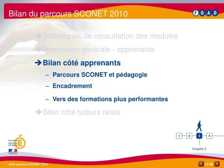 Bilan du parcours SCONET 2010