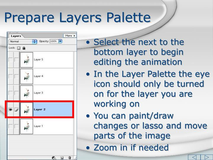 Prepare Layers Palette