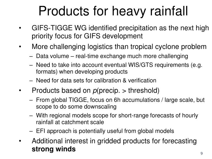 Products for heavy rainfall