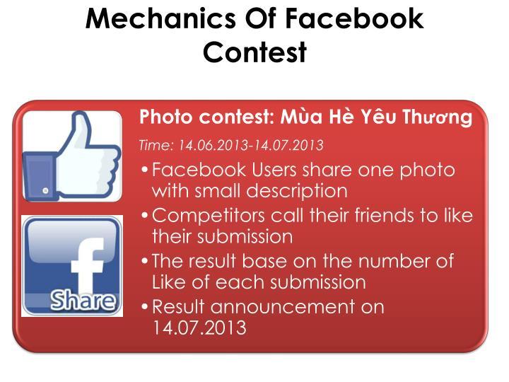 Mechanics of facebook contest