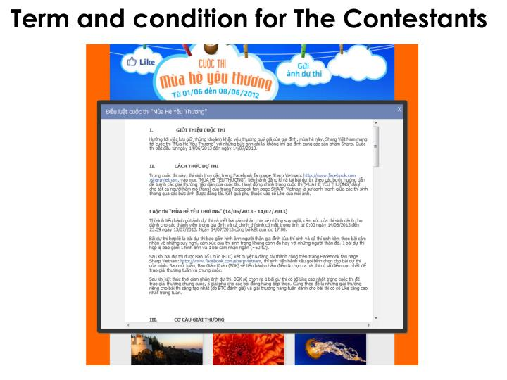 Term and condition for The