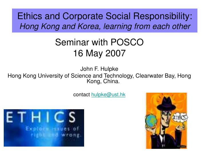 Ethics and corporate social responsibility hong kong and korea learning from each other