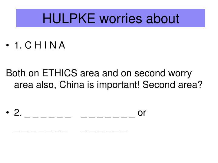 HULPKE worries about