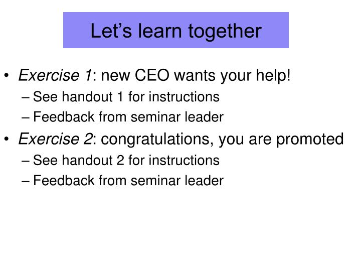 Let's learn together