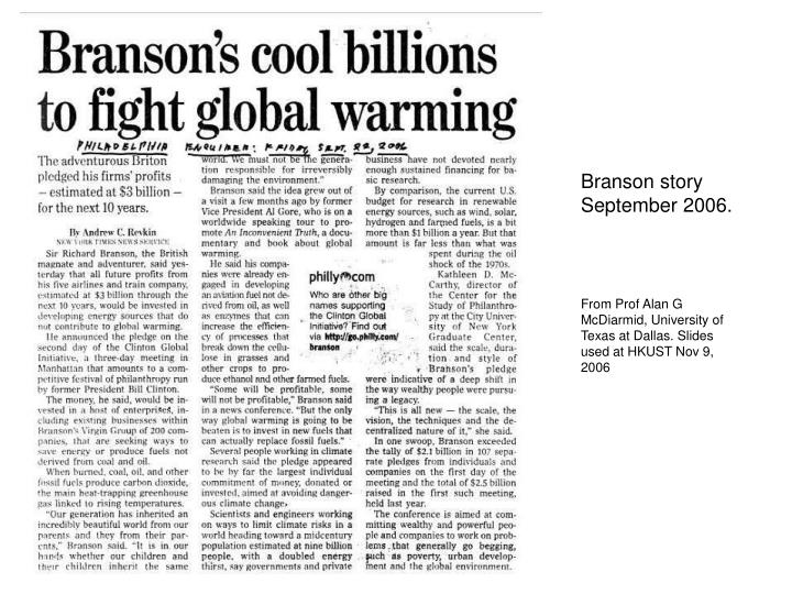 Branson story September 2006.
