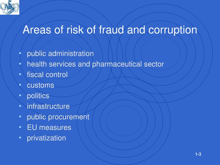 Areas of risk of fraud and corruption