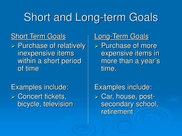 short term and long term goals A short-term goal is something you want to do in the near future a long-term goal is something you want to do further in the future.