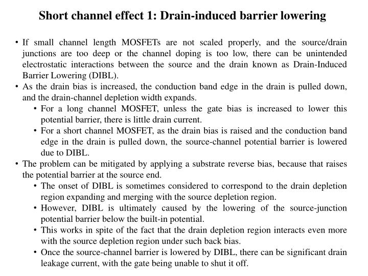 Short channel effect 1: Drain-induced barrier lowering