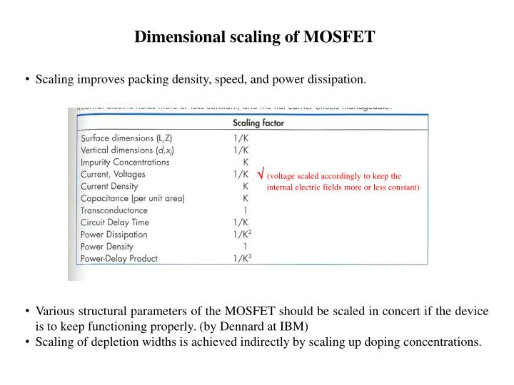 Dimensional scaling of MOSFET