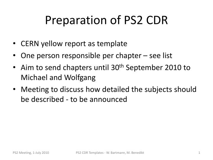 PPT - Preparation of PS2 CDR PowerPoint Presentation - ID:4147042