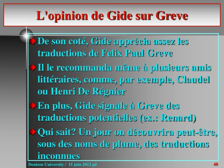 L'opinion de Gide sur Greve