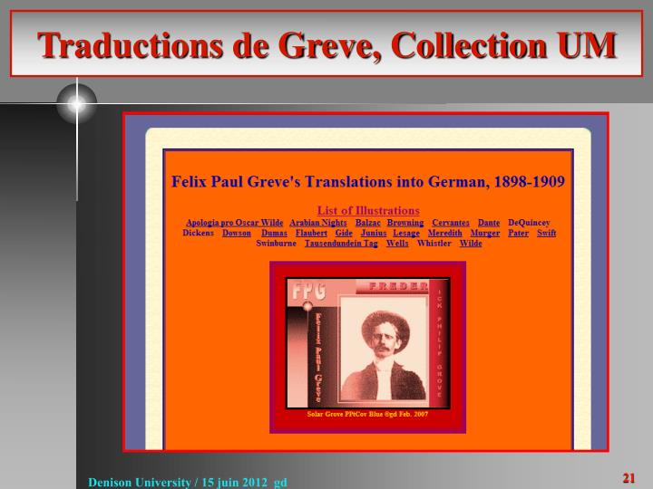 Traductions de Greve, Collection UM