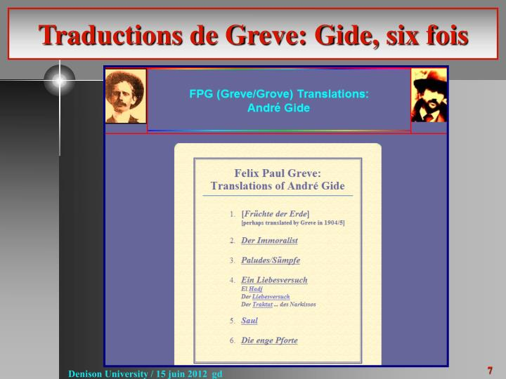 Traductions de Greve: Gide, six fois