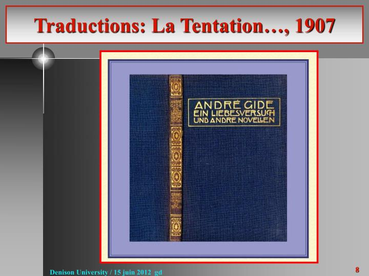 Traductions: La Tentation…, 1907