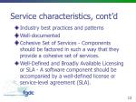 service characteristics cont d