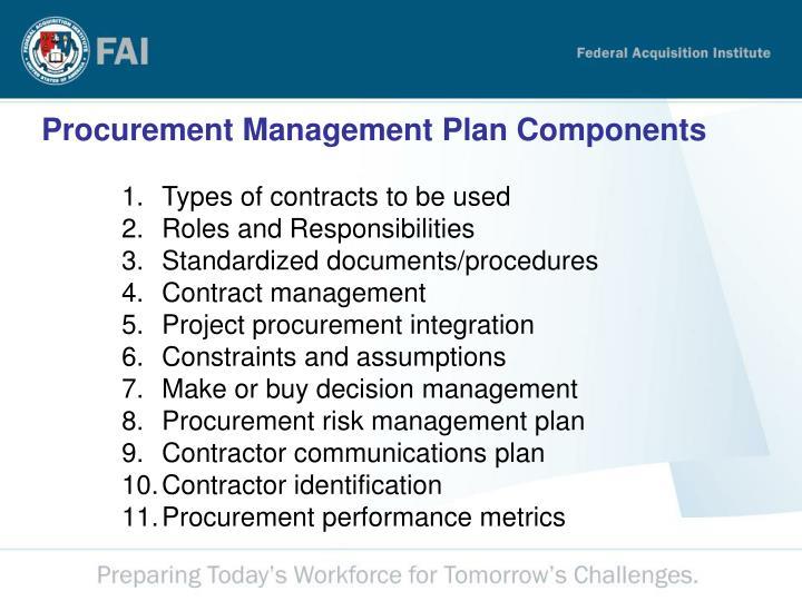 Procurement Management Plan Components