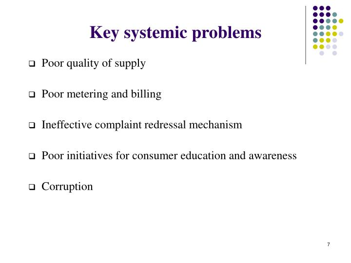 Key systemic problems