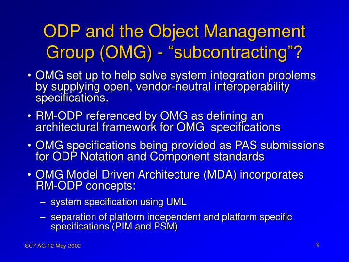 "ODP and the Object Management Group (OMG) - ""subcontracting""?"