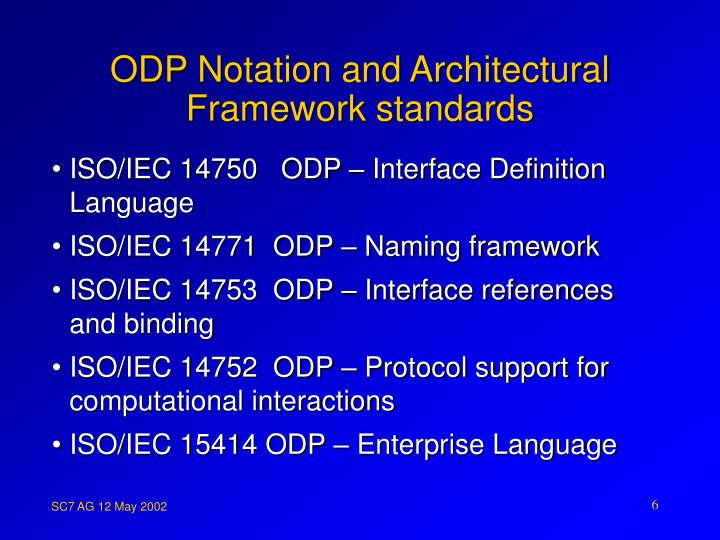 ODP Notation and Architectural Framework standards