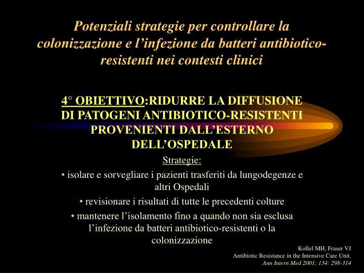 Potenziali strategie per controllare la colonizzazione e l'infezione da batteri antibiotico-resistenti nei contesti clinici