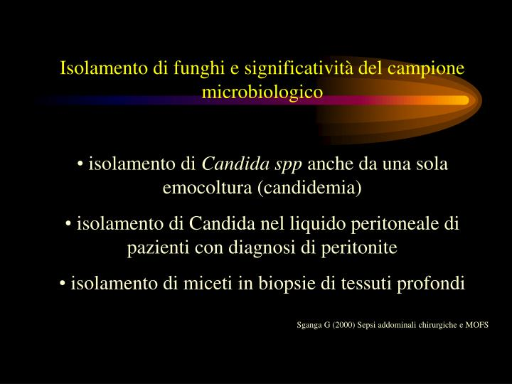 Isolamento di funghi e significatività del campione microbiologico