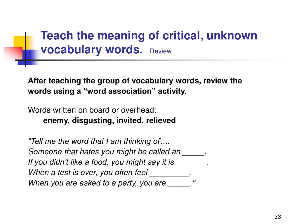 PPT - Dynamic Vocabulary Instruction PowerPoint Presentation