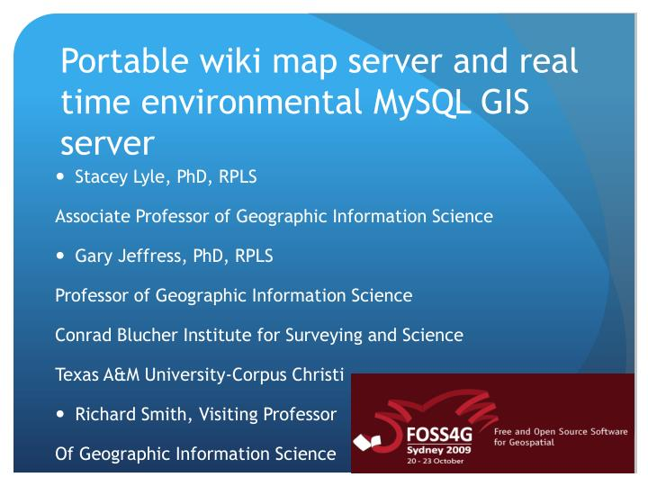 PPT - Portable wiki map server and real time environmental