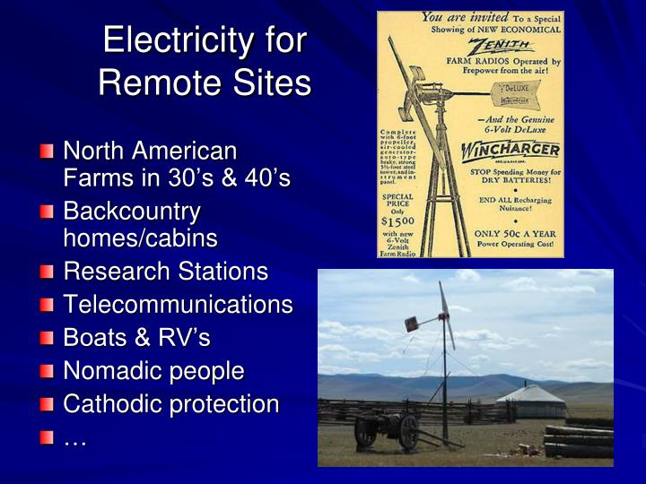 Electricity for Remote Sites