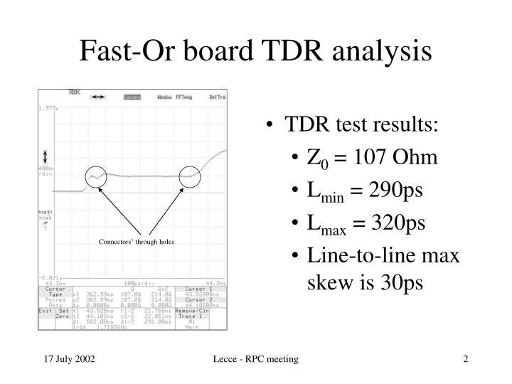 Fast or board tdr analysis