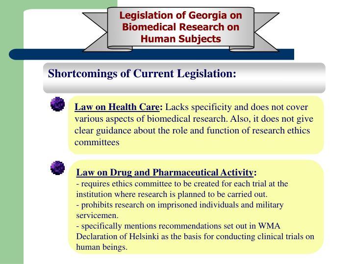 Legislation of Georgia on Biomedical Research on Human Subjects