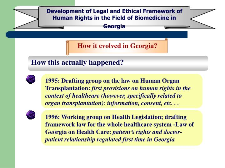 Development of Legal and Ethical Framework of Human Rights in the Field of Biomedicine in Georgia
