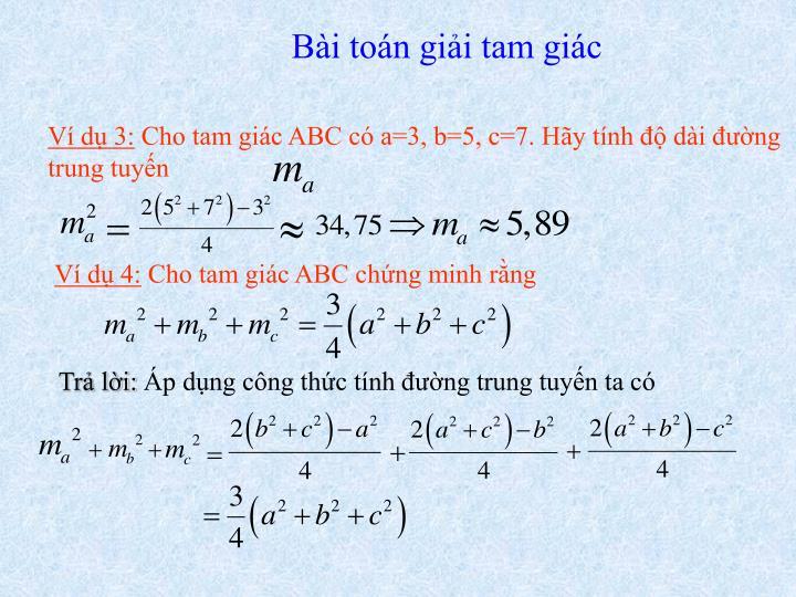 Bài toán giải tam giác