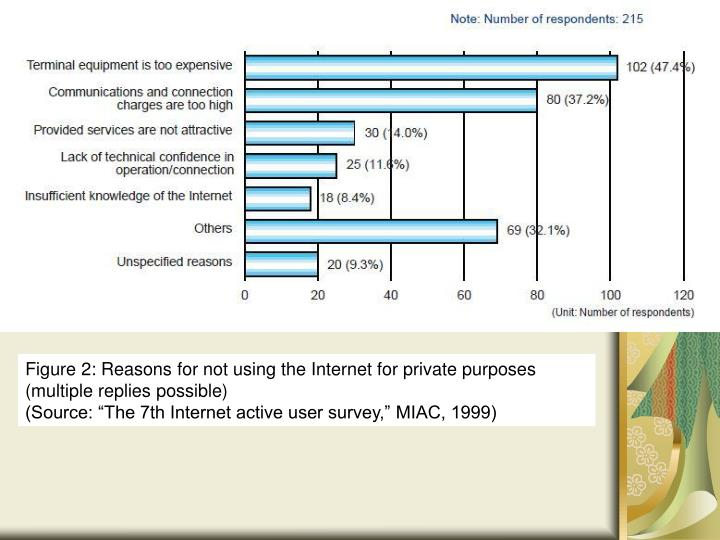 Figure 2: Reasons for not using the Internet for private purposes (multiple replies possible)