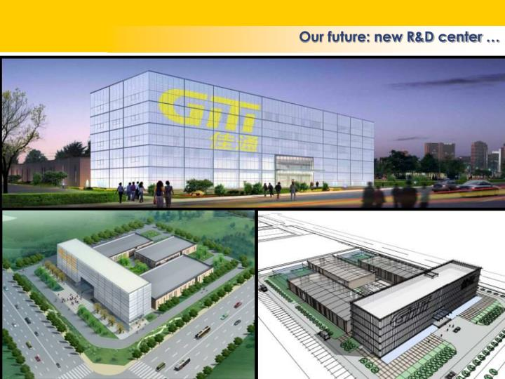 Our future: new R&D center …