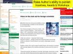raise author s ability to publish incentives awards workshops